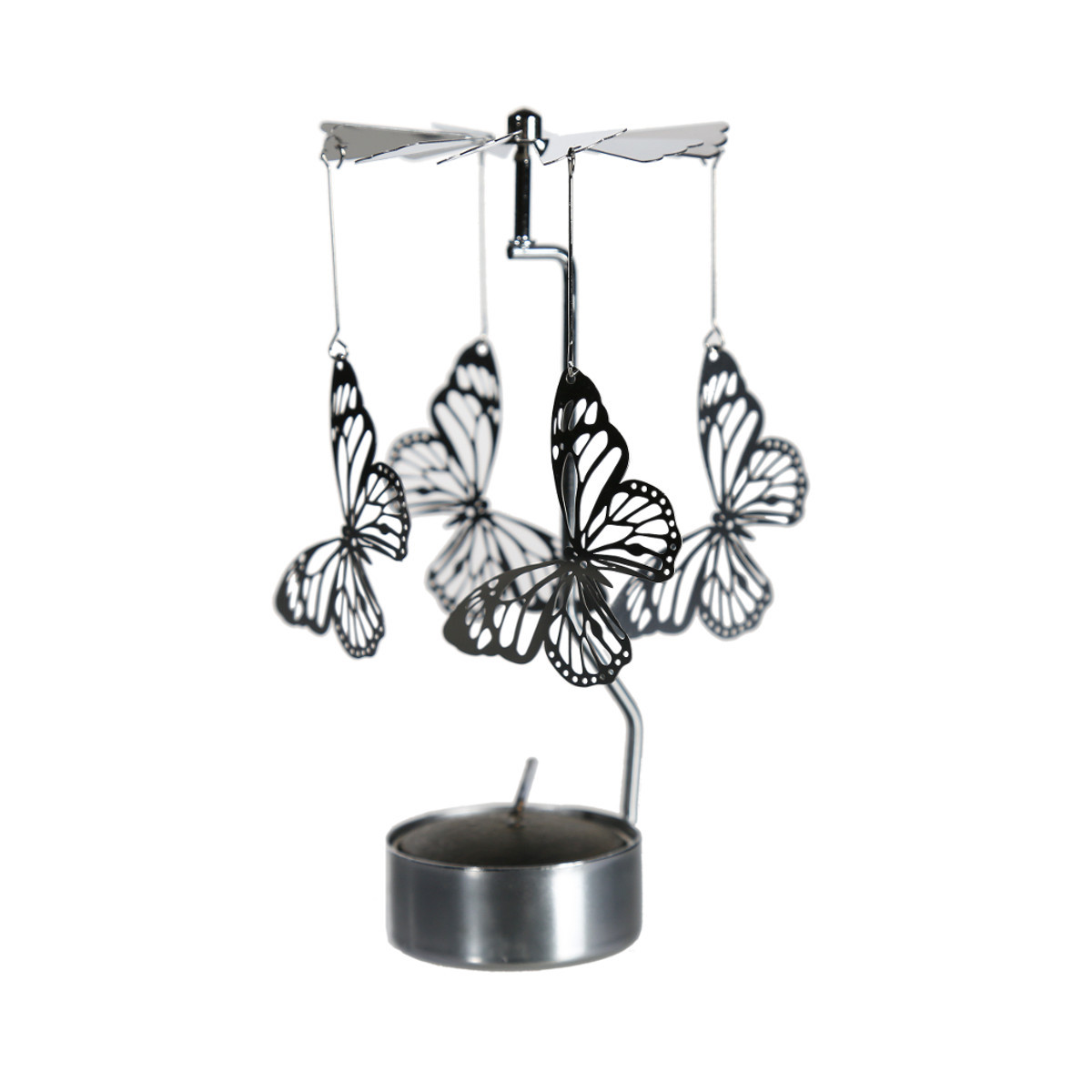 Rotating metal candle holder