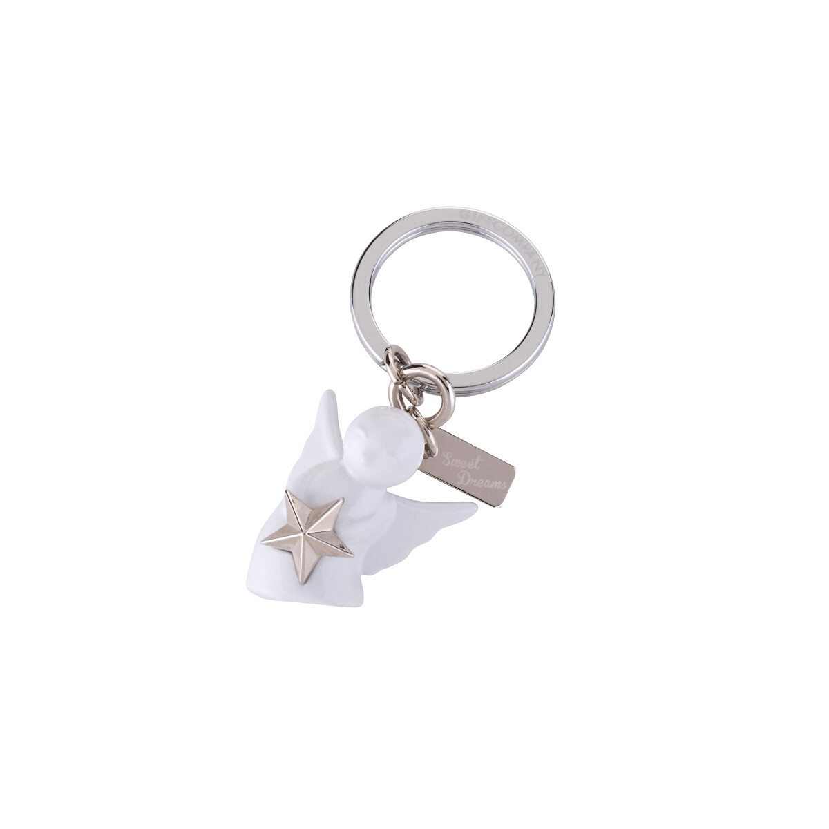 KEY CHAIN GUARDIAN ANGEL WITH STAR SILVER